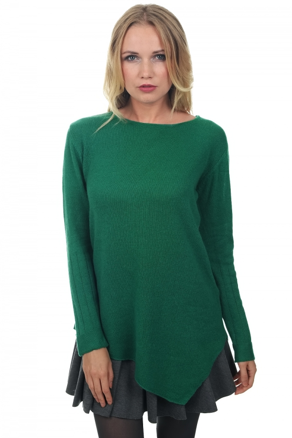 cachemire pull femme col rond zaia vert anglais xl