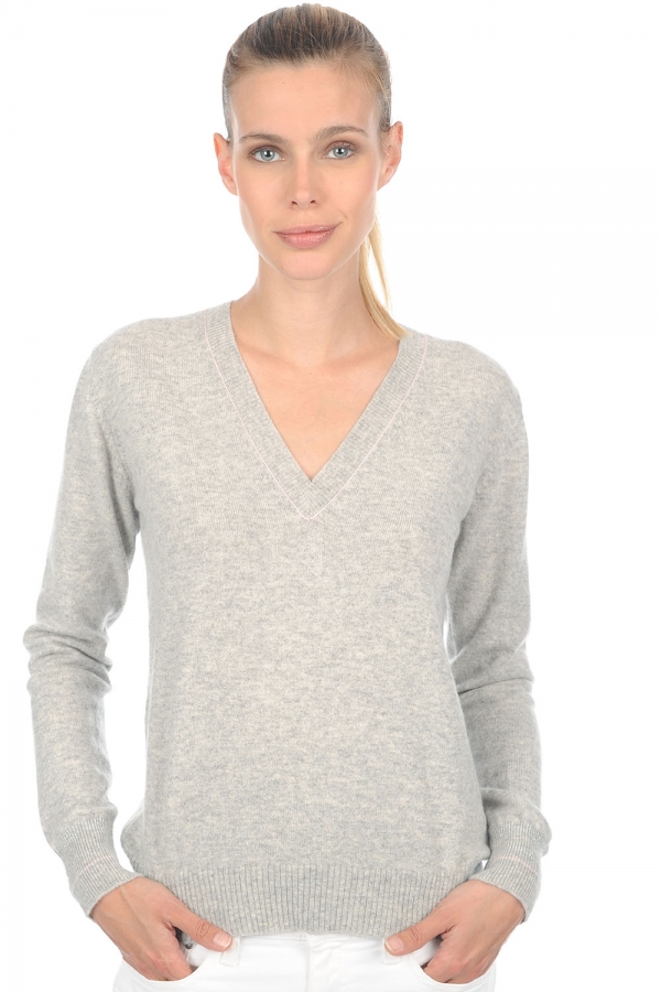 cachemire pull femme col v emerson flanelle chine rose pale m