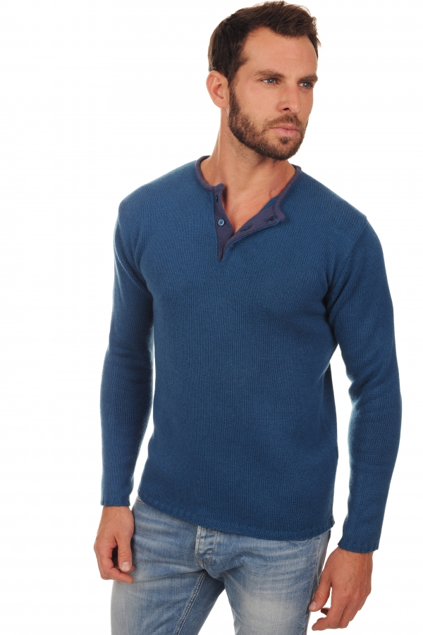 cachemire pull homme col rond cilian bleu canard mure m