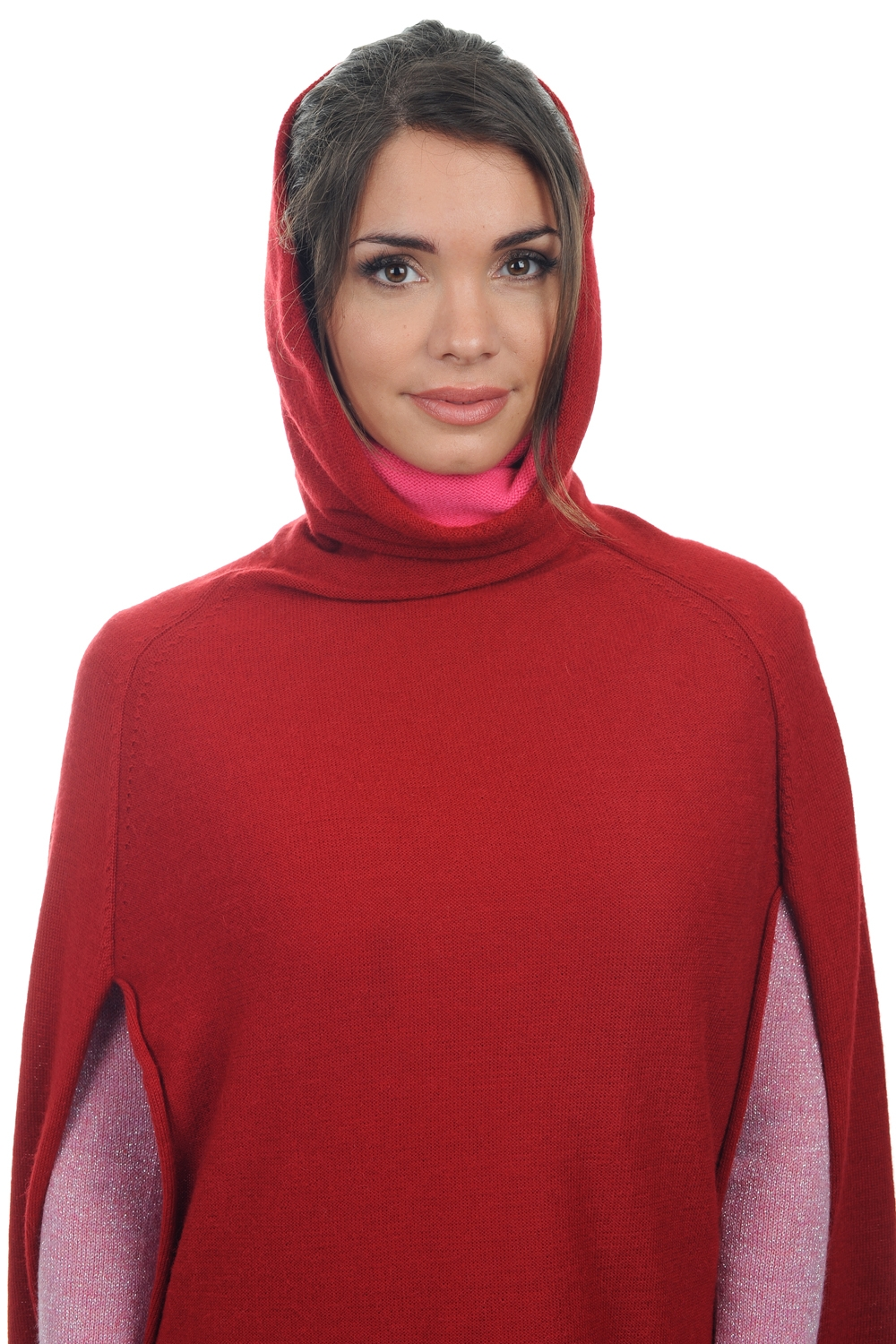 baby alpaga  cachemire ponchos femme briana rouge taille unique