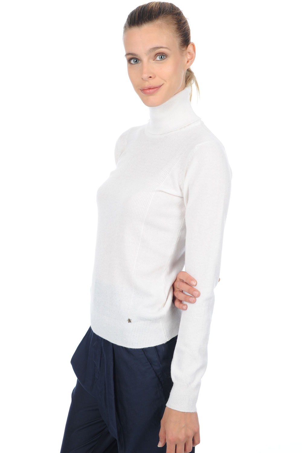 cachemire pull femme col roule kassidy blanc casse s