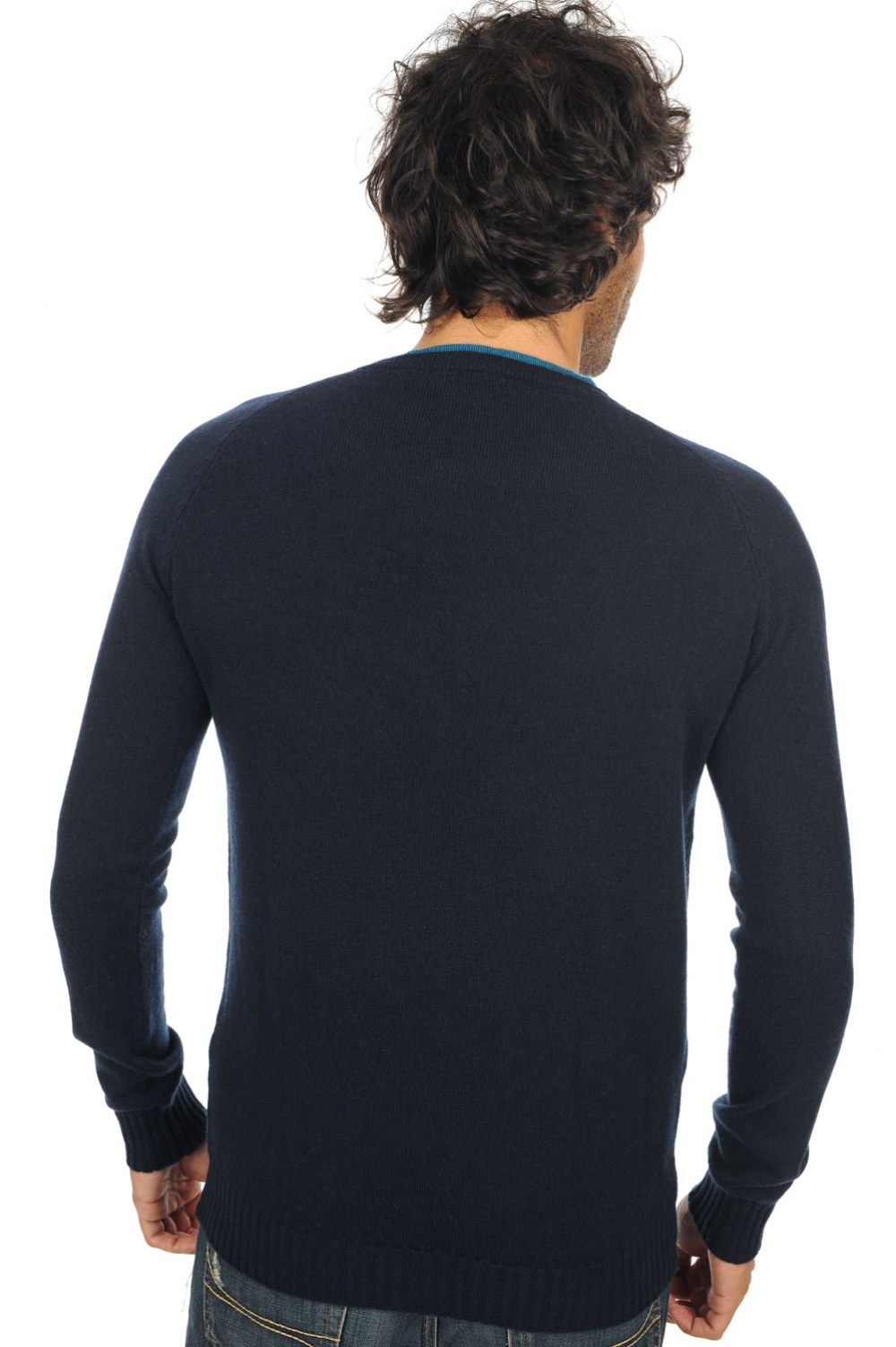 cachemire pull homme col rond nils marine fonce bleu canard m